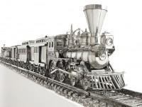 O sculptură sub formă de tren umplută cu burbon s-a vândut cu 33 milioane de dolari